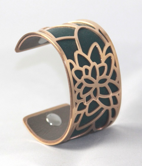 BC-A40R Peony Rose Gold Cuff - Trendy New Silver Cuff Bracelet, 40mm wide, interchangeble color band. Come with one free random color leather band, many more available to order.