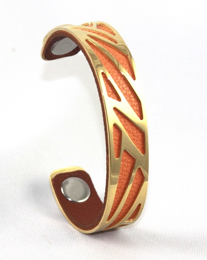BC-B14G Stroke Gold Cuff - Small Cuff Bracelet, 14mm wide, interchangeble color band. Come with one free random color leather band, many more available to order.
