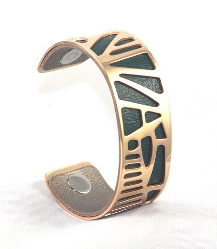 BC-B25R Nature Rose Gold Medium Cuff - Medium Rose Gold Cuff Bracelet, 25mm wide, interchangeble color band. Come with one free random color leather band, many more available to order.