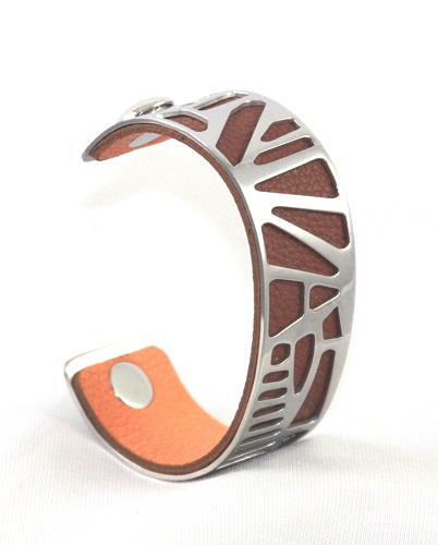 BC-B25W Nature White Gold Medium Cuff - Medium Rose Gold Cuff Bracelet, 25mm wide, interchangeble color band. Come with one free random color leather band, many more available to order.