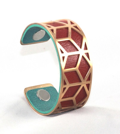 BC-C25R Net Rose Gold Medium Cuff - Medium Rose Gold Cuff Bracelet, 25mm wide, interchangeble color band. Come with one free random color leather band, many more available to order.