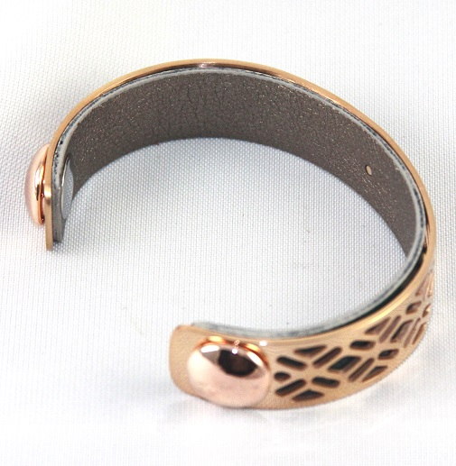 BC-D14R Grille Rose Gold Cuff - Small Cuff Bracelet, 14mm wide, interchangeble color band. Come with one free random color leather band, many more available to order.