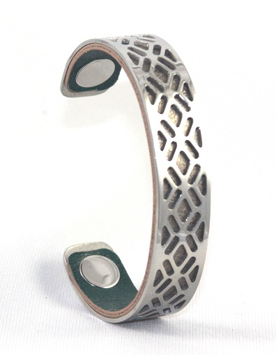 BC-D14W Grille White Gold Cuff - Small Cuff Bracelet, 14mm wide, interchangeble color band. Come with one free random color leather band, many more available to order.