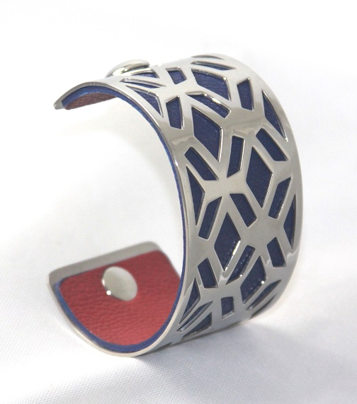 BC-E40W Grille White Gold Cuff - Trendy New Silver Cuff Bracelet, 40mm wide, interchangeble color band. Come with one free random color leather band, many more available to order.