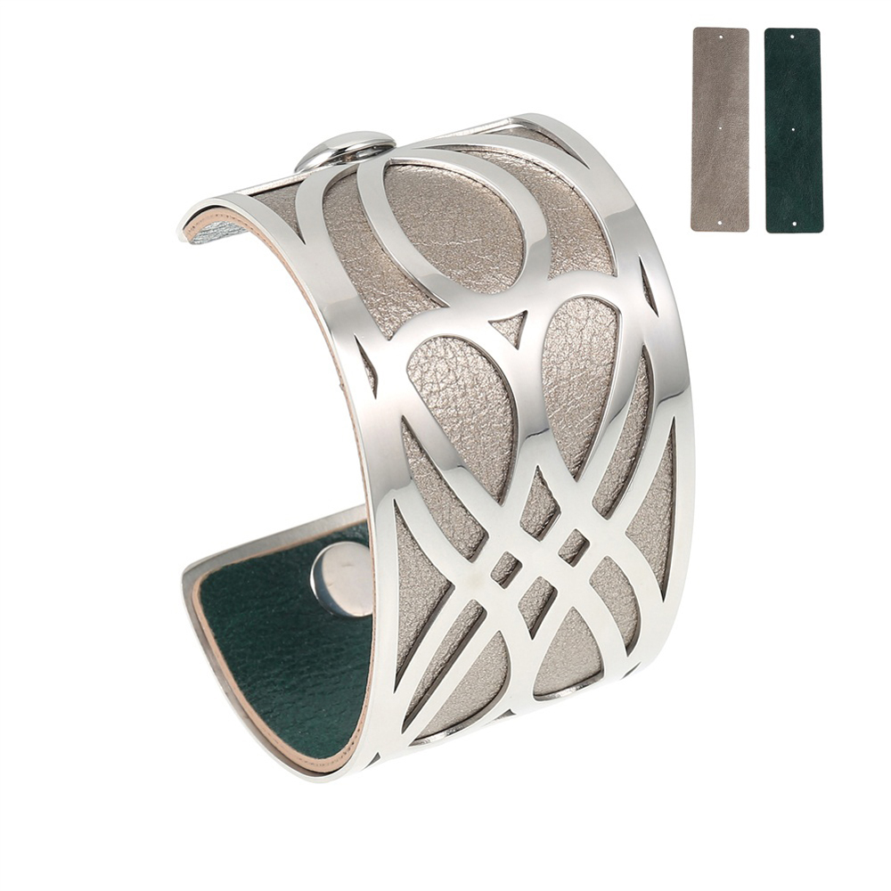 LCB47 Double infinity Cuff Bracelet - Trendy New Silver Cuff Bracelet, 40mm wide, interchangeble color band. Come with one free random color leather band, many more available to order.
