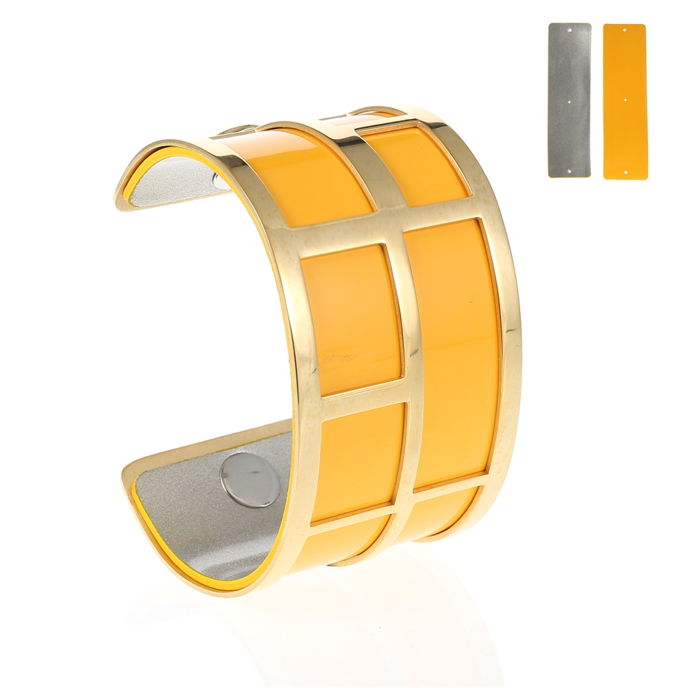 LCB Gold Maze Cuff Bracelet - Trendy New Gold Cuff Bracelet, 40mm wide, interchangeble color band. Come with one free random color leather band, many more available to order.