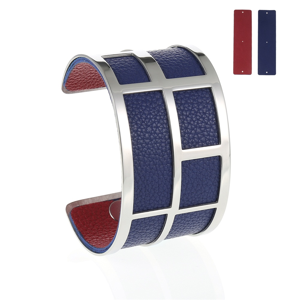 LCB Silver Maze Cuff Bracelet - Trendy New Silver Cuff Bracelet, 40mm wide, interchangeble color band. Come with one free random color leather band, many more available to order.
