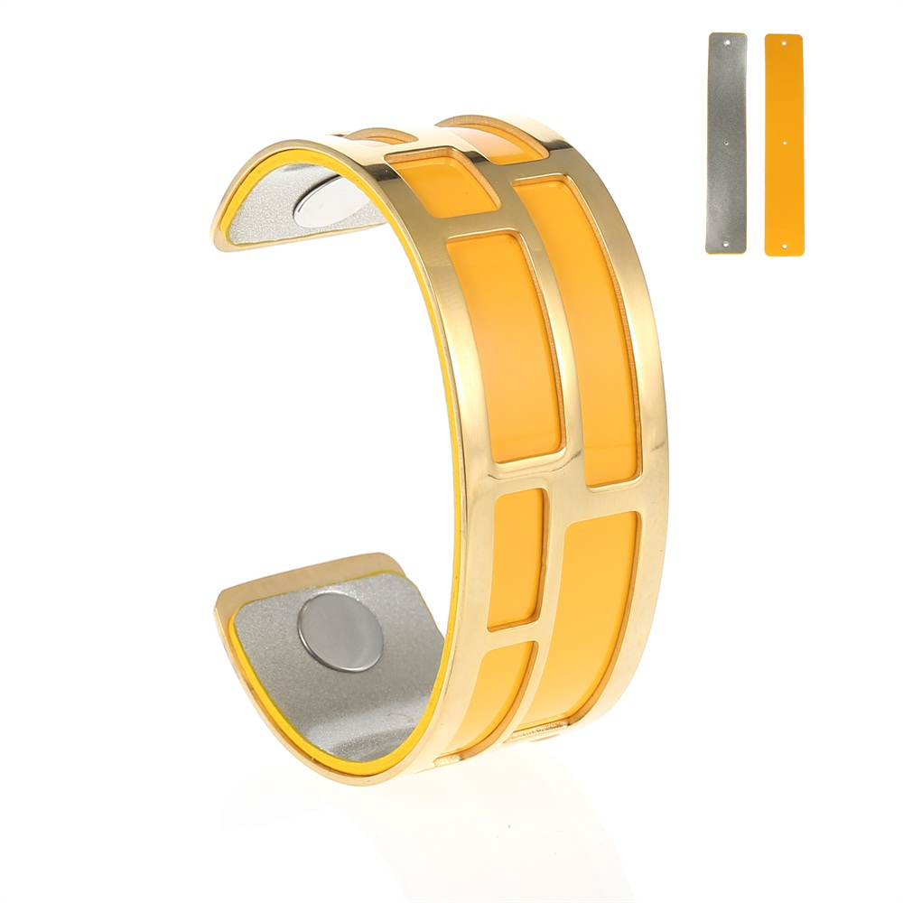 MCB Gold Maze Cuff - Medium Gold Cuff Bracelet, 25mm wide, interchangeble color band. Come with one free random color leather band, many more available to order.
