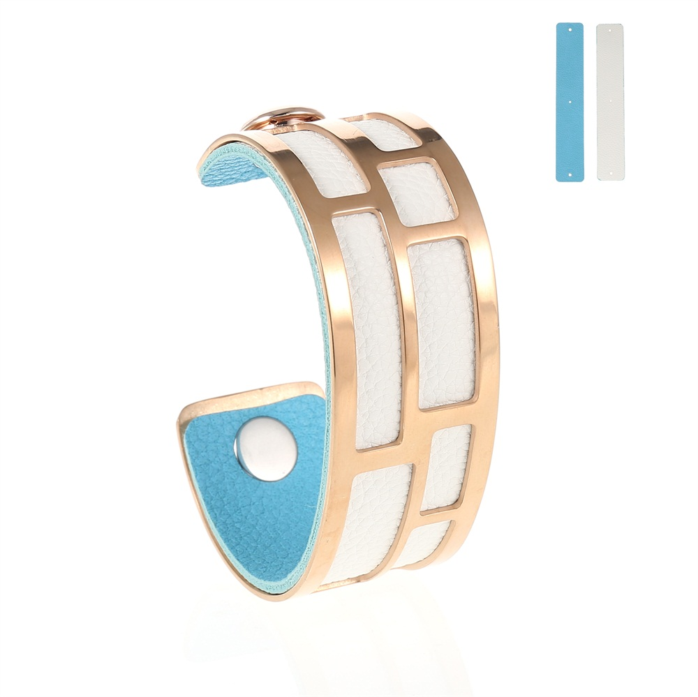 MCB Rose Gold Maze Cuff - Medium Rose Gold Cuff Bracelet, 25mm wide, interchangeble color band. Come with one free random color leather band, many more available to order.