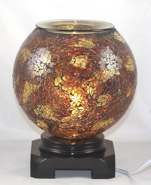 ED-338 BROWN GLOBE -  DESIGNER ELECTRIC OIL BURNER GLASS FIGURINE FRAGRANCE LAMP WHOLESALE BY ETS DESIGN