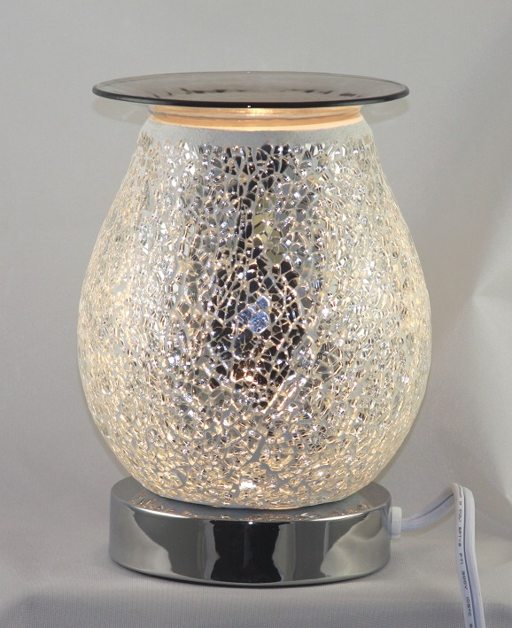 ED-360 Crackle Glass White Oil Burner - Electric Touch Oil Burners, Crackle Glass, 5'x5'x7' 12 pcs per carton