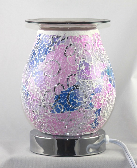 ED-363 Crackle Glass Pink Design - Electric Touch Oil Burners, Crackle Glass, 5'x5'x7' 12 pcs per carton