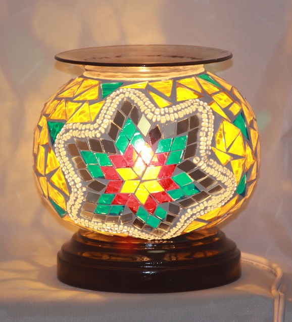 ED-368 Mosaic Teal Yellow Oil Tart Burner - Electric Oil Burner, Dimmer Switch, Mosaic, 5.75'x5.75'x5.50', 12 pcs per carton