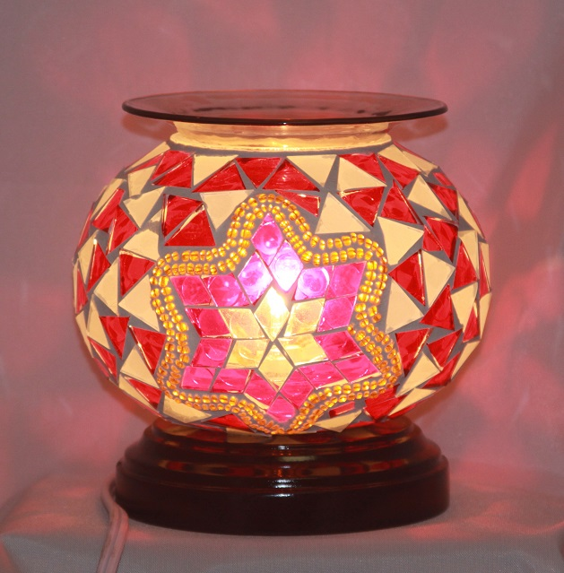 ED-369 Red Pink Mosaic - Electric Oil Burner, Dimmer Switch, Mosaic, 5.75'x5.75'x5.50', 12 pcs per carton