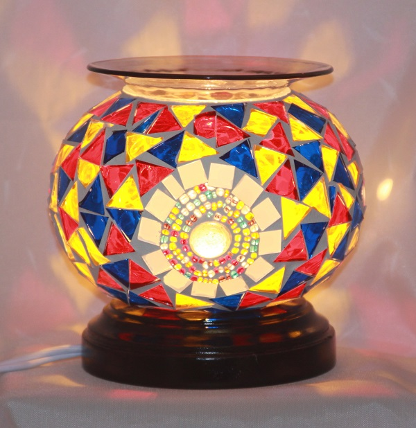 ED-370 Mosaic Blue Red Yellow - Electric Oil Burner, Dimmer Switch, Mosaic, 5.75'x5.75'x5.50', 12 pcs per carton