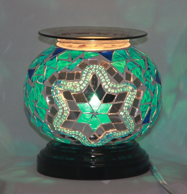 ED-371 Green Mosaic Oil Warmer - Electric Oil Burner, Dimmer Switch, Mosaic, 5.75'x5.75'x5.50', 12 pcs per carton