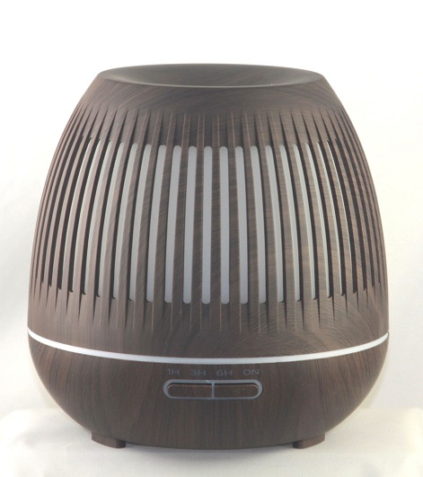 EDF-15D - Aroma Diffuser, Dark Wood color, LED 7 colors automatically, H 17cm, W 17cm, 1 hour, 3 hour, and 6 hour run options, auto shut off when water runs out, 12 pieces per case