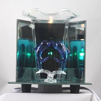 EF-872 Kissing dolphin - DOUBLE DOLPHIN  ELECTRIC OIL BURNER GLASS FIGURINE FRAGRANCE LAMP WHOLESALE BY ETS DESIGN