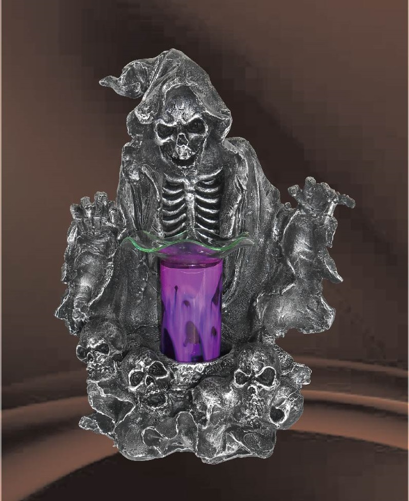 EP-141 GRIM REAPER POLY RESIN OIL BURNER - Poly Resin Electric Oil Burner/fragrance lamp. Price is each pc, its packed 4 pcs to a case.