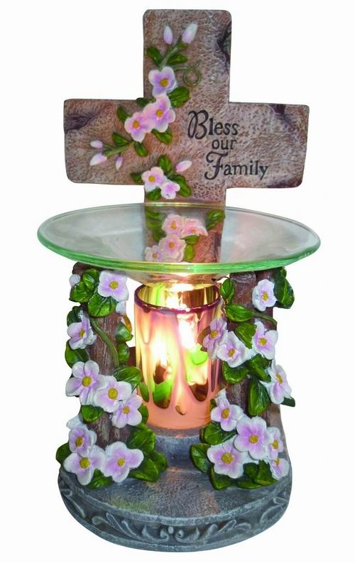 EP-142 CROSS POLY RESIN OIL BURNER - Poly Resin Electric Oil Burner/fragrance lamp. Price is each pc, its packed 4 pcs to a case.