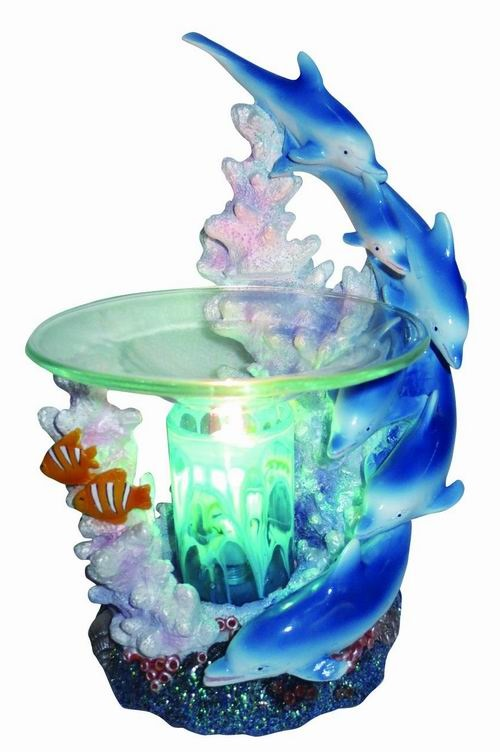 EP-143 BLUE DOLPHINS POLY RESIN OIL BURNER - Poly Resin Electric Oil Burner/fragrance lamp. Price is each pc, its packed 4 pcs to a case.