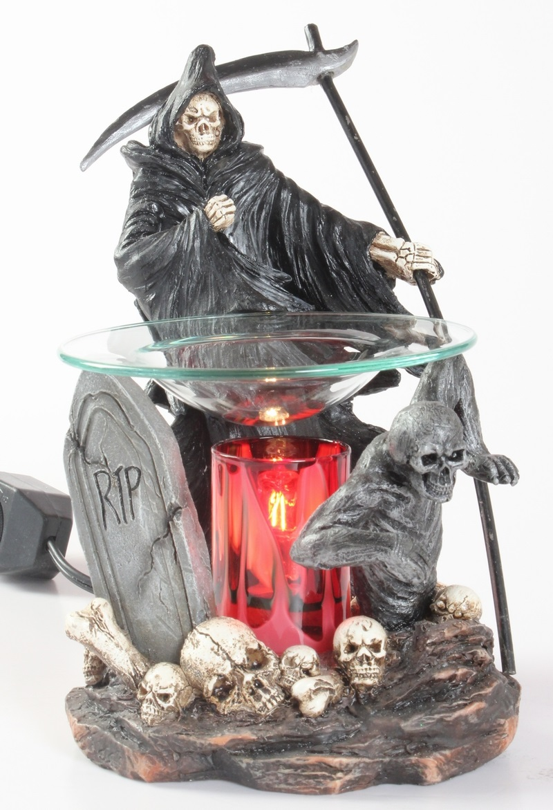 EP-148 Graveyard Reaper - Poly Resin Electric Oil Burner/fragrance lamp. Price is each pc, its packed 4 pcs to a case.