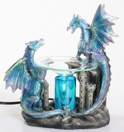 EP-154 Double Blue Dragon - Poly Resin Electric Oil Burner/fragrance lamp. Price is each pc, its packed 4 pcs to a case.