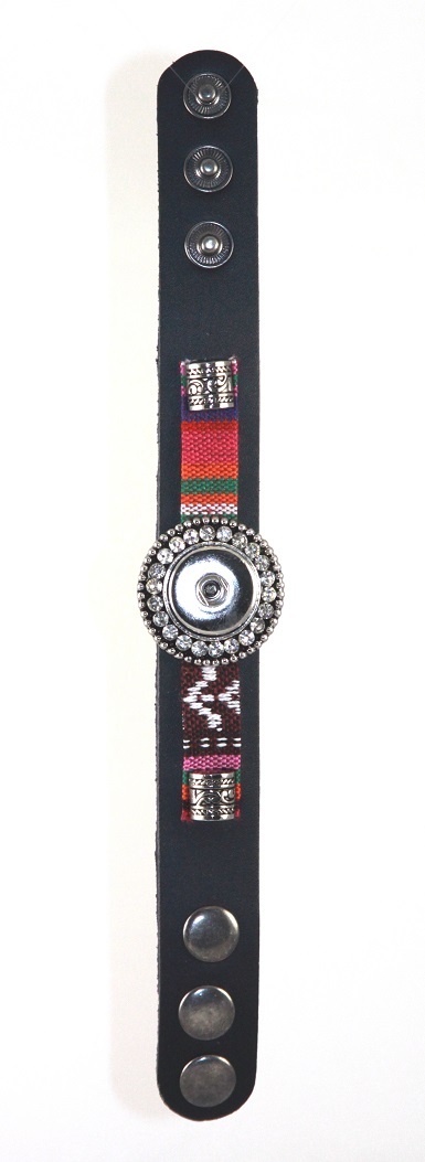 Black with Multicolor - 1 snap Leather Bracelet