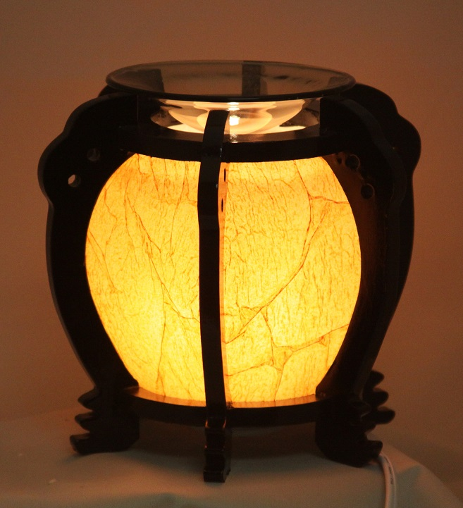 EW-647 - WOOD ELECTRIC OIL BURNER. DIMMER SWITCH TO ADJUST THE BRIGHTNESS OF THE LAMP.