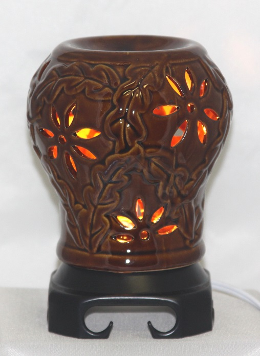 EW-738 - BROWN PORCELIN ELECTRIC OIL BURNER. THE UNIT HAS WOOD BASE AND COMES WITH DIMMER CONTROL. 12PCS PER CASE.