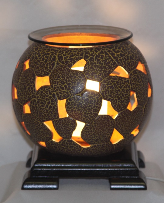 EW-743 - POTTERY ELECTRIC OIL BURNER, THE UNIT HAS WOOD BASE AND COMES WITH DIMMER CONTROL. 12PCS PER CASE.