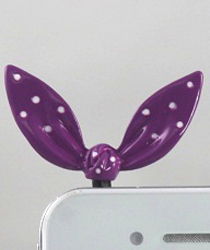 EARCAP01 PURPLE BOW CELL PHONE CHARMS - PLUGS INTO THE CELL PHONE WHERE THE EAR PHONE GOES. PREVENT DUST AND WATER GOES IN, AND MOST IMPORTANTLY, IT'S AN EXTRA BLING!
