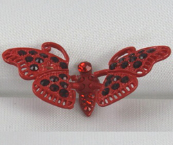 EARCAP08  RED BUTTERFLY - PLUGS INTO THE CELL PHONE WHERE THE EAR PHONE GOES. PREVENT DUST AND WATER GOES IN, AND MOST IMPORTANTLY, IT'S AN EXTRA BLING!