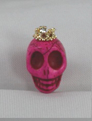 EARCAP13  HOT PINK SKULL  CELL PHONE CHARMS - PLUGS INTO THE CELL PHONE WHERE THE EAR PHONE GOES. PREVENT DUST AND WATER GOES IN, AND MOST IMPORTANTLY, IT'S AN EXTRA BLING!