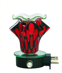 EB-005 RED - WALL PLUG IN OIL BURNER, PLUGS DIRECTLY INTO THE OUTLET. DIMMER SWITCH.