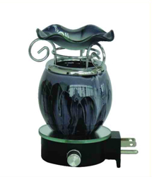 EB-025 BLACK - WALL PLUG IN OIL BURNER. PLUGS DIRECTLY INTO THE WALL. DIMMER SWITCH.