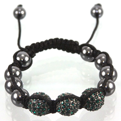 ECB418 Shambala Bracelet - TEAL DISCO BALL SHAMBALLA, NEW TREND OF THE YEAR. ADJUSTABLE CORD, ONE SIZE FITS ALL.