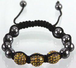 ECB420 Shambala Bracelet - AMBER DISCO BALL SHAMBALLA, 14MM DISCO BALL BEADS. NEW TREND OF THE YEAR. HIP HOP JEWELRY. ADJUSTABLE CORD, ONE SIZE FITS ALL.