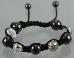 ECB429 Shambala Bracelet - CLEAR CRYSTAL SHAMBALLA, 12MM CRYSTAL BEADS. NEW TREND IN FASHION JEWELRY. HIP HOP STAR WEARS THEM. SALES GREAT. ADJUSTABLE CORDS, ONE SIZE FITS ALL.