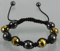 ECB430 Shambala Bracelet - GOLD CRYSTAL SHAMBALLA, 12MM CRYSTAL BEADS. NEW TREND IN FASHION JEWELRY. HIP HOP STAR WEARS THEM. SALES GREAT. ADJUSTABLE CORDS, ONE SIZE FITS ALL.