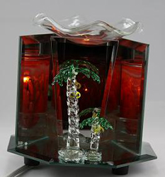 EF-879 PALM TREE ELECTRIC OIL BURNER - PALM TREE  ELECTRIC OIL BURNER GLASS FIGURINE FRAGRANCE LAMP WHOLESALE BY ETS DESIGN
