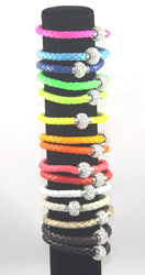 emab-assort - 12pcs MAGNETIC LEATHER BRACELET,  ABOUT 8? LONG, VERY STYLISH.
