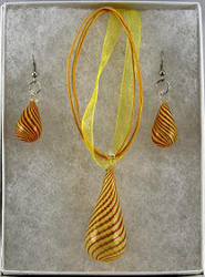 EMS180 Yellow Orange Spiral Tear Drop Pendant Earrings Set