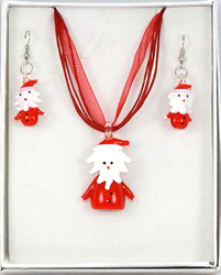 EMS231 SANTA CLAUSE Pendant Earrings Set