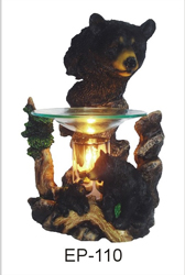 EP-110 BLACK BEARS POLY RESIN OIL BURNER - Poly Resin Electric Oil Burner/fragrance lamp. Price is each pc, its packed 4 pcs to a case.