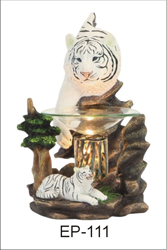 EP-111 WHITE TIGERS POLY RESIN OIL BURNER - Poly Resin Electric Oil Burner/fragrance lamp. Price is each pc, its packed 4 pcs to a case.
