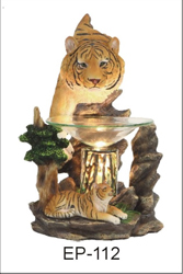 EP-112 BROWN TIGERS POLY RESIN OIL BURNER - Poly Resin Electric Oil Burner/fragrance lamp. Price is each pc, its packed 4 pcs to a case.