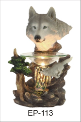 EP-113 WOLVES POLY RESIN OIL BURNER - Poly Resin Electric Oil Burner/fragrance lamp. Price is each pc, its packed 4 pcs to a case.