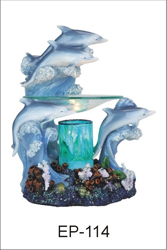 EP-114 DOLPHINS POLY RESIN OIL BURNER - Poly Resin Electric Oil Burner/fragrance lamp. Price is each pc, its packed 4 pcs to a case.