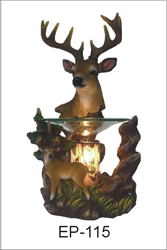 EP-115 DEERS POLY RESIN OIL BURNER  - Poly Resin Electric Oil Burner/fragrance lamp. Price is each pc, its packed 4 pcs to a case.